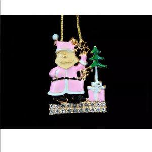 Crystal Pink Santa 🎅 Necklace